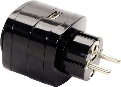 Swiss Gear Travel Accessories Continental Europe Grounded Adaptor Plug With USB Port Black - Swiss Gear Travel Accessories Electronic Accessories 10392804