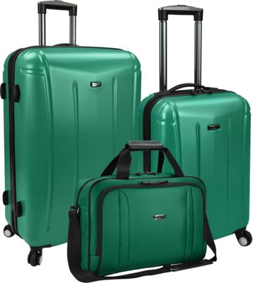 U.S. Traveler 3-Piece Spinner and Boarding Bag Luggage Set Green - U.S. Traveler Luggage Sets