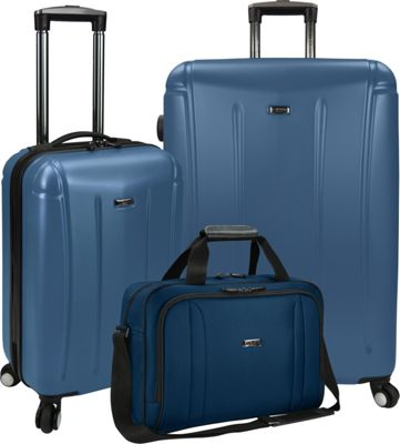 U.S. Traveler U.S. Traveler 3-Piece Spinner and Boarding Bag Luggage Set Blue - U.S. Traveler Luggage Sets