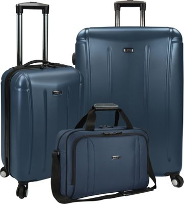 U.S. Traveler 3-Piece Spinner and Boarding Bag Luggage Set Navy - U.S. Traveler Luggage Sets