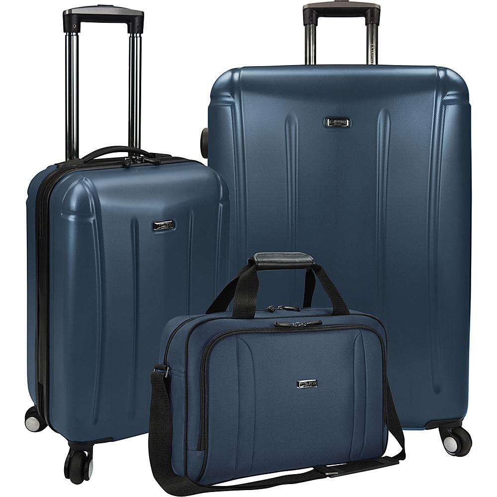 U.S. Traveler 3 Piece Spinner and Boarding Bag Luggage Set Navy U.S. Traveler Luggage Sets
