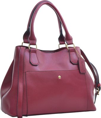 Dasein Gathered Top Satchel Red - Dasein Manmade Handbags