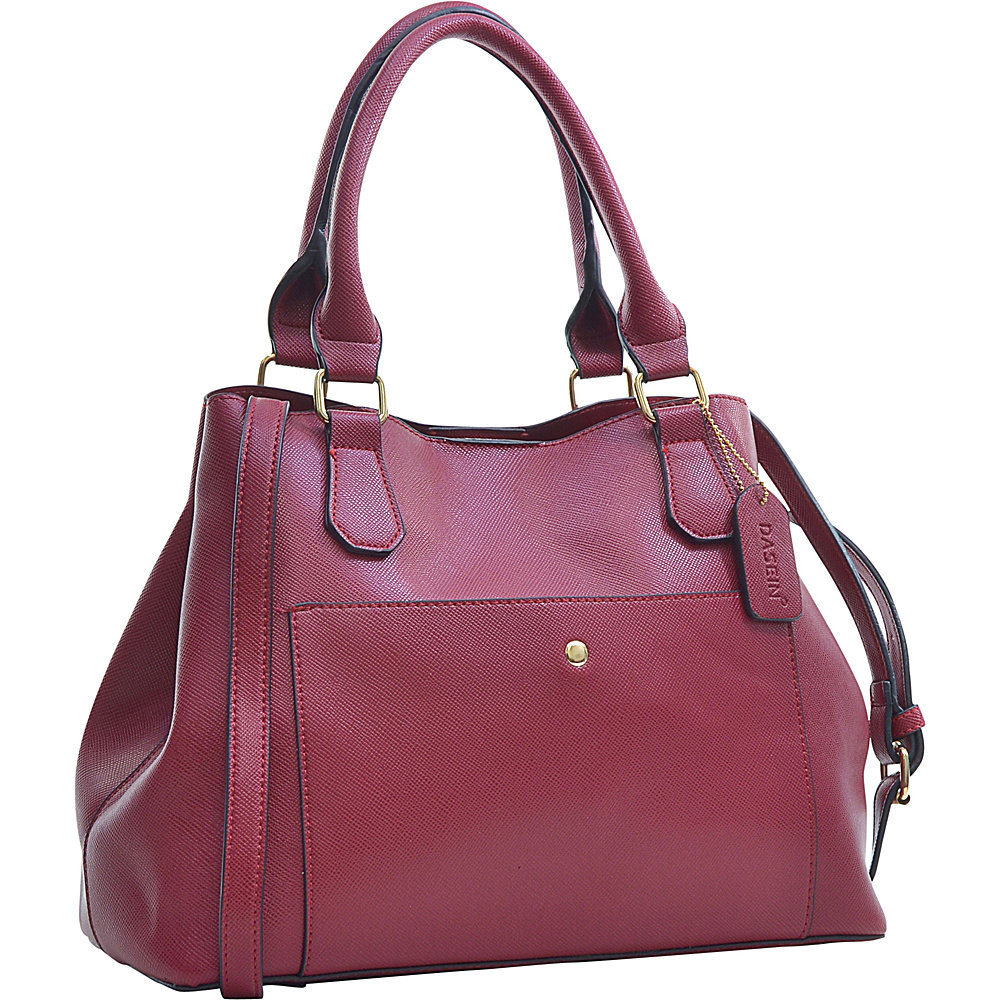Dasein Gathered Top Satchel Red - Dasein Manmade Handbags - Handbags, Manmade Handbags