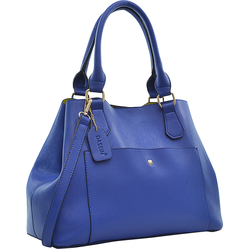 Dasein Gathered Top Satchel Blue - Dasein Manmade Handbags - Handbags, Manmade Handbags
