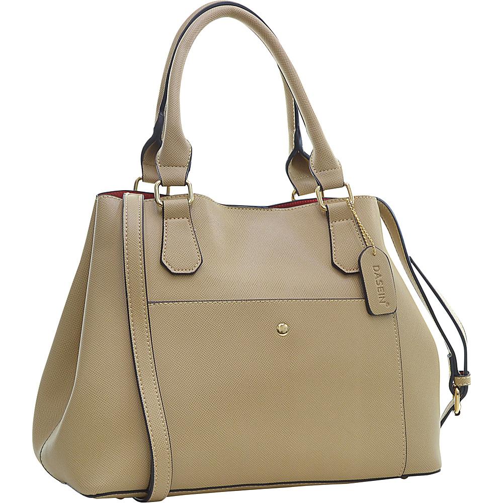 Dasein Gathered Top Satchel Beige Dasein Manmade Handbags