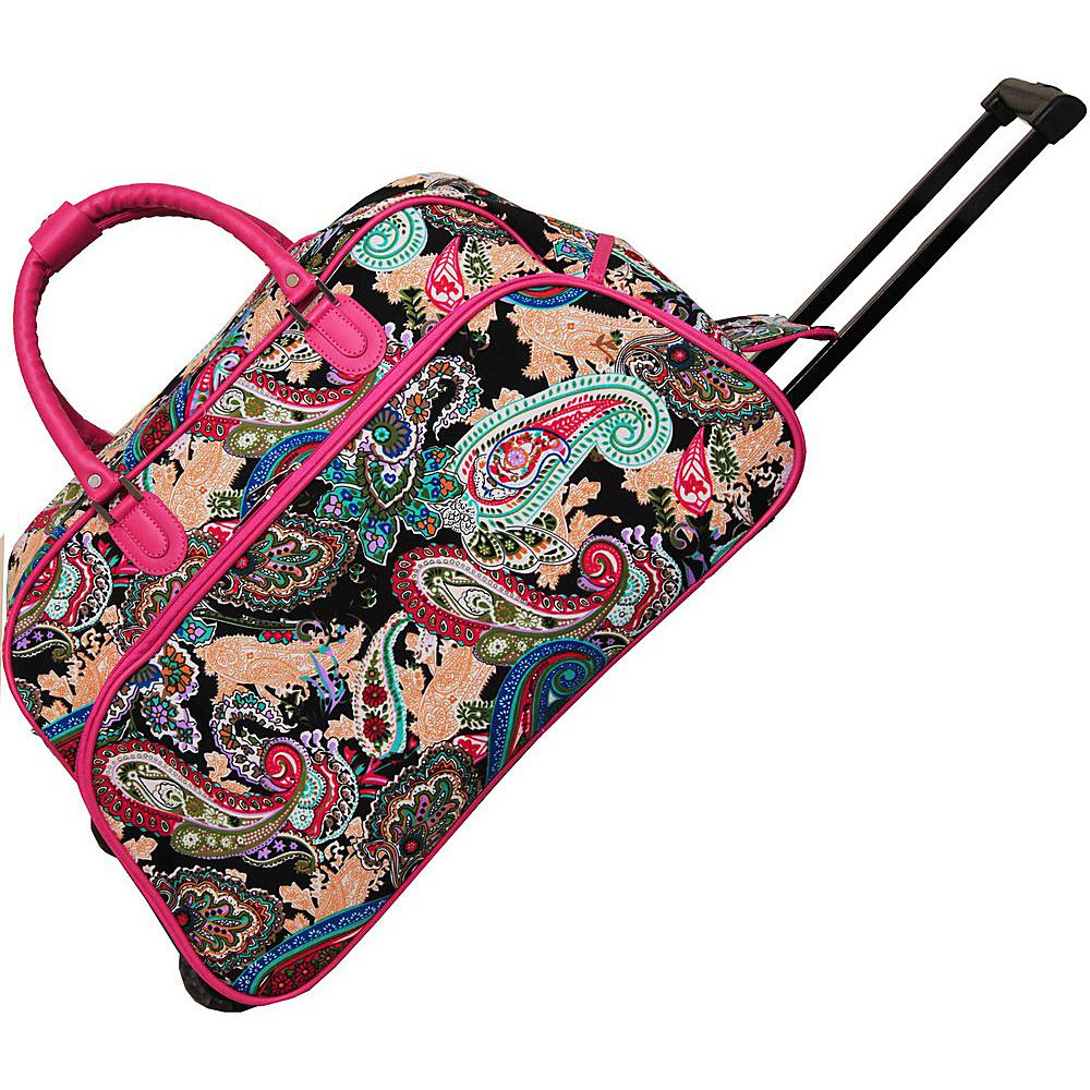 World Traveler Multi Paisley 21 Rolling Duffel Bag Pink Trim Multi Paisley - World Traveler Rolling Duffels - Luggage, Rolling Duffels