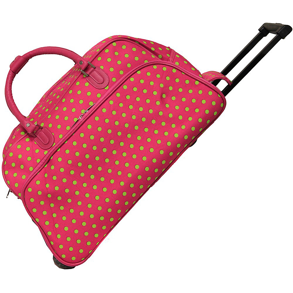 World Traveler Dots 21 Rolling Duffel Bag Fuchsia Lime Dot - World Traveler Rolling Duffels - Luggage, Rolling Duffels