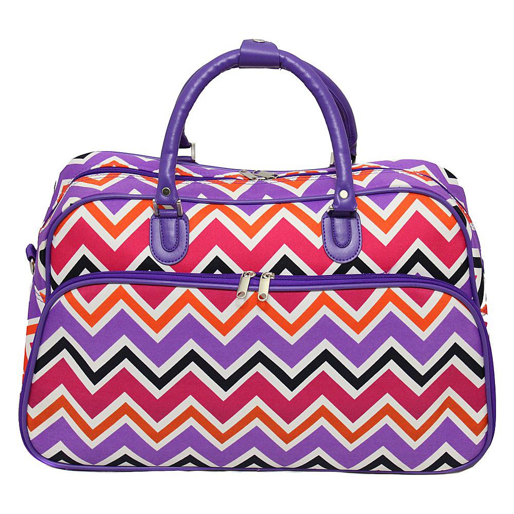 World Traveler Chevron Multi 21 Carry-On Duffel Bag Purple Trim Chevron Multi - World Traveler Rolling Duffels - Luggage, Rolling Duffels