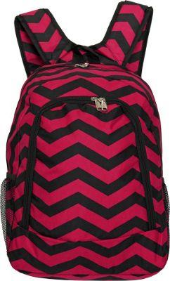 World Traveler Chevron 16 inch Multipurpose Backpack Fuchsia Black Chevron - World Traveler Everyday Backpacks