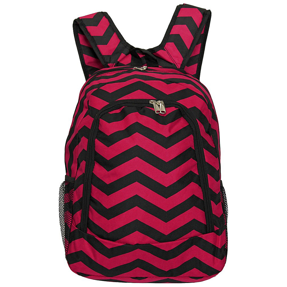 World Traveler Chevron 16 Multipurpose Backpack Fuchsia Black Chevron World Traveler Everyday Backpacks