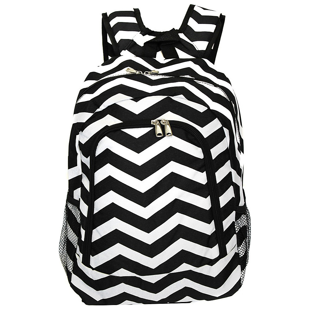 World Traveler Chevron 16 Multipurpose Backpack Black White Chevron World Traveler Everyday Backpacks