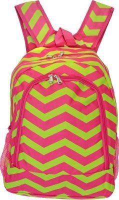 World Traveler Chevron 16 inch Multipurpose Backpack Fuchsia Lime Chevron - World Traveler Everyday Backpacks