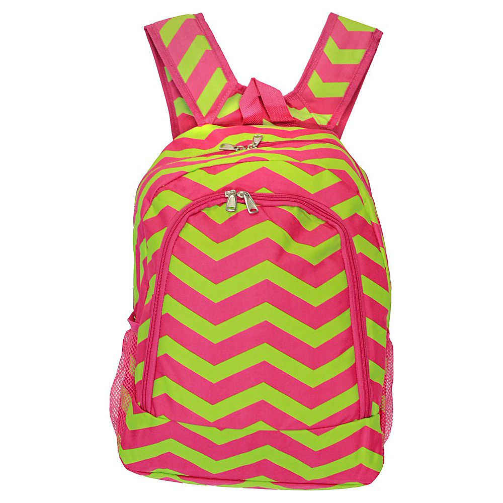 World Traveler Chevron 16 Multipurpose Backpack Fuchsia Lime Chevron World Traveler Everyday Backpacks