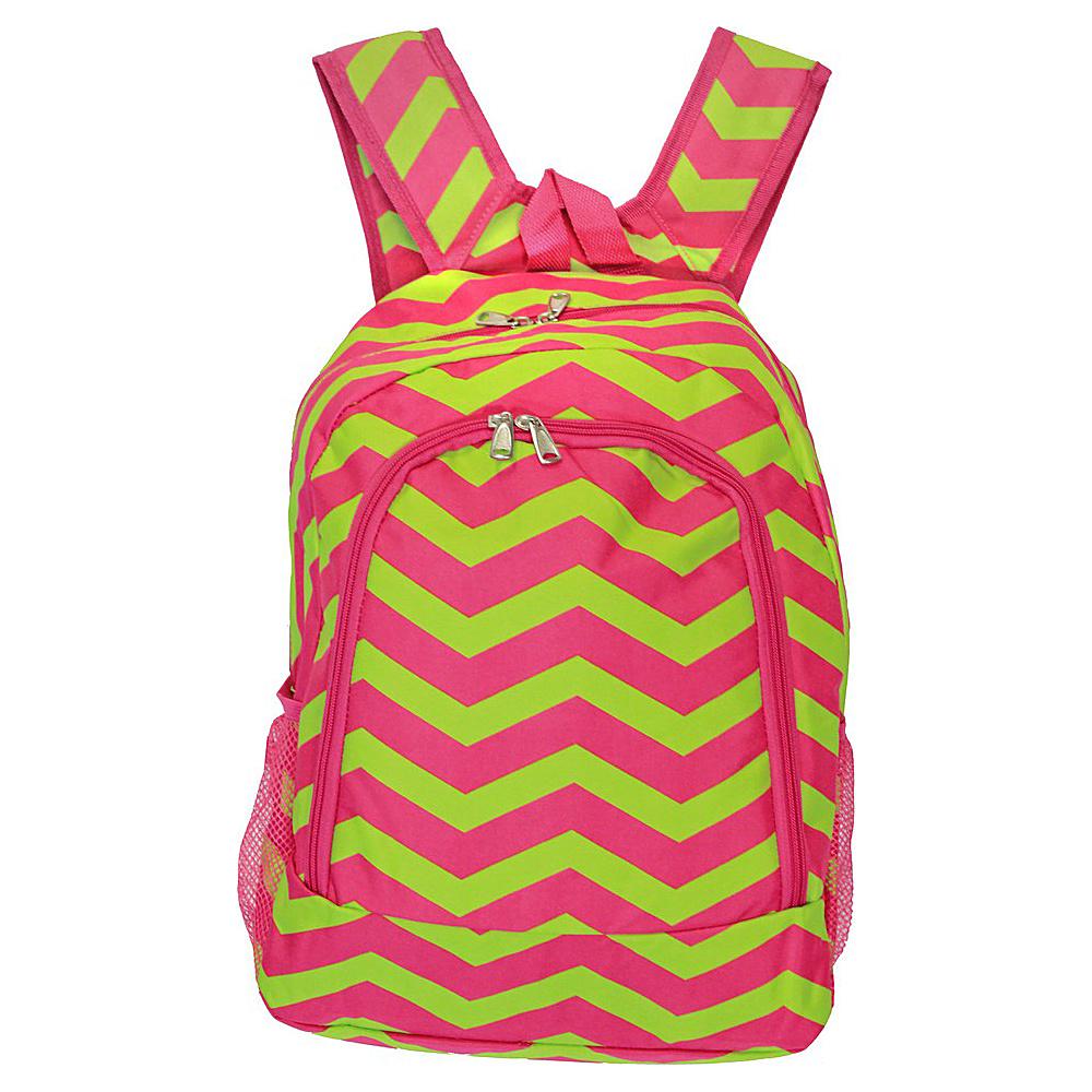World Traveler Chevron 16 Multipurpose Backpack Fuchsia Lime Chevron - World Traveler Everyday Backpacks - Backpacks, Everyday Backpacks