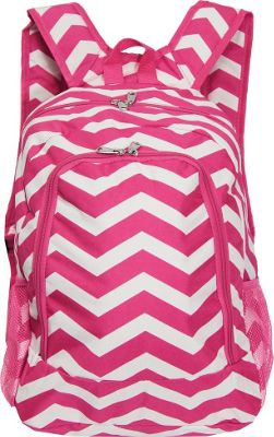 World Traveler Chevron 16 inch Multipurpose Backpack Fuchsia White Chevron - World Traveler Everyday Backpacks