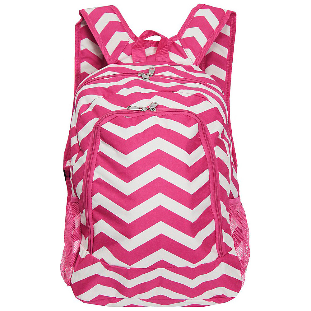 World Traveler Chevron 16 Multipurpose Backpack Fuchsia White Chevron World Traveler Everyday Backpacks