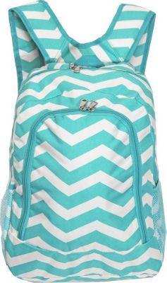 World Traveler Chevron 16 inch Multipurpose Backpack Blue White Chevron - World Traveler Everyday Backpacks