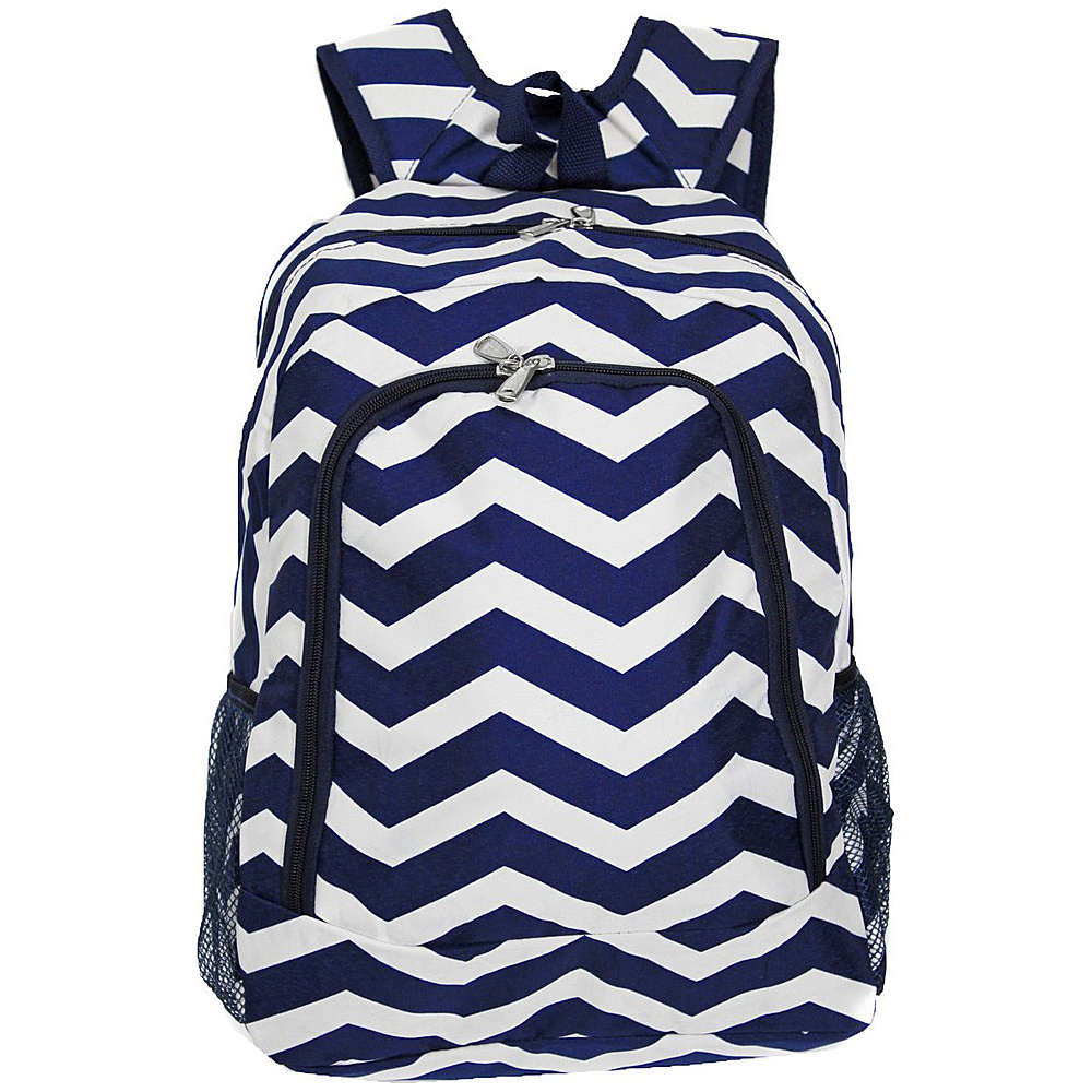 World Traveler Chevron 16 Multipurpose Backpack Navy White Chevron World Traveler Everyday Backpacks
