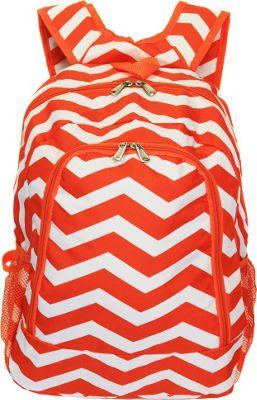World Traveler Chevron 16 inch Multipurpose Backpack Orange White Chevron - World Traveler Everyday Backpacks