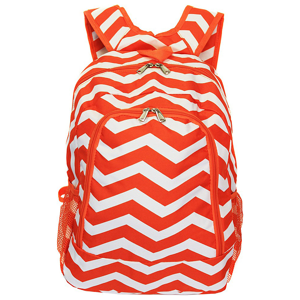 World Traveler Chevron 16 Multipurpose Backpack Orange White Chevron World Traveler Everyday Backpacks