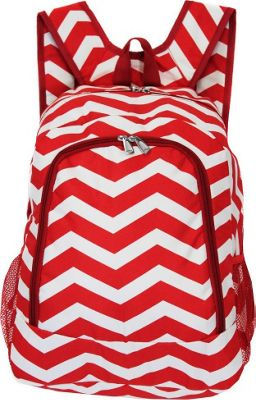 World Traveler Chevron 16 inch Multipurpose Backpack Red White Chevron - World Traveler Everyday Backpacks