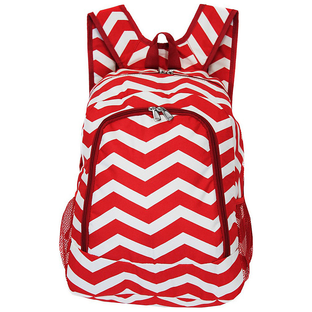 World Traveler Chevron 16 Multipurpose Backpack Red White Chevron World Traveler Everyday Backpacks