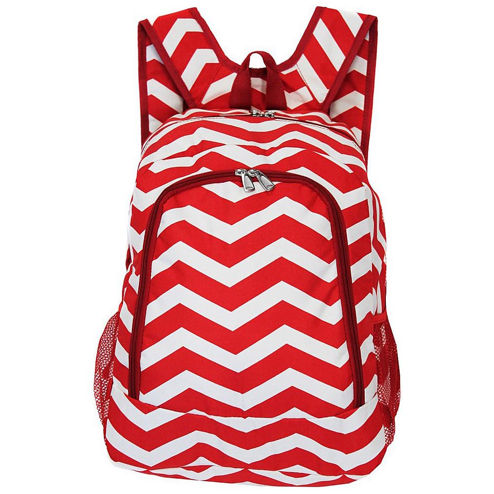 World Traveler Chevron 16 Multipurpose Backpack Red White Chevron - World Traveler Everyday Backpacks - Backpacks, Everyday Backpacks