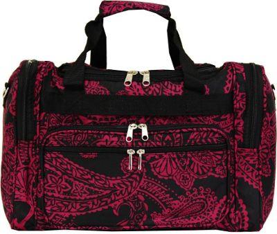 World Traveler Paisley 16 inch Shoulder Duffle Bag Black Pink Paisley - World Traveler Rolling Duffels