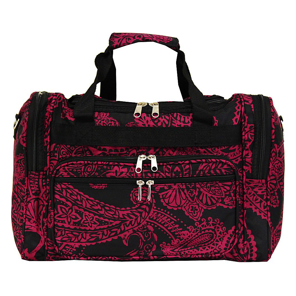World Traveler Paisley 16 Shoulder Duffle Bag Black Pink Paisley World Traveler Rolling Duffels