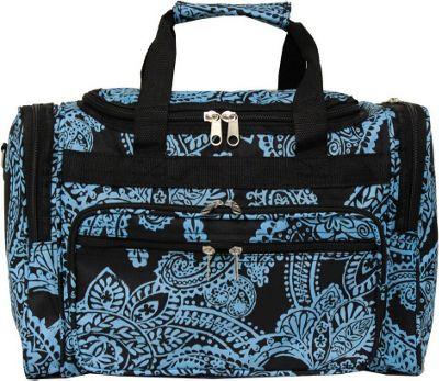 World Traveler Paisley 16 inch Shoulder Duffle Bag Black Blue Paisley - World Traveler Rolling Duffels
