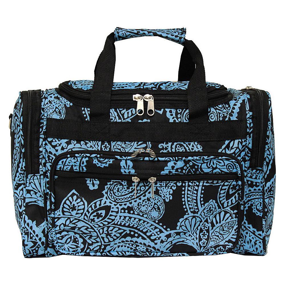 World Traveler Paisley 16 Shoulder Duffle Bag Black Blue Paisley - World Traveler Rolling Duffels - Luggage, Rolling Duffels