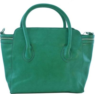 nu G Side Zipper Frame Satchel Green - nu G Manmade Handbags