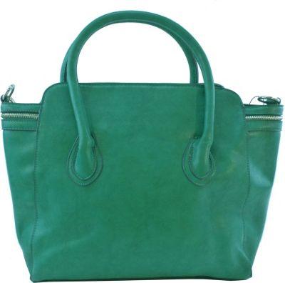 nu G Side Zipper Frame Satchel Green - nu G Manmade Handbags
