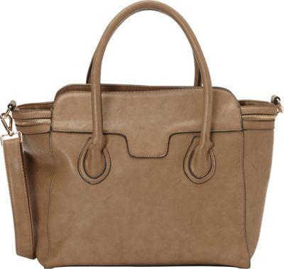 nu G Side Zipper Frame Satchel Taupe - nu G Manmade Handbags