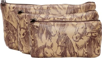 Donna Sharp Rectangle Cosmetic 3-Piece Set - Exclusive Thoroughbred - Donna Sharp Women's SLG Other