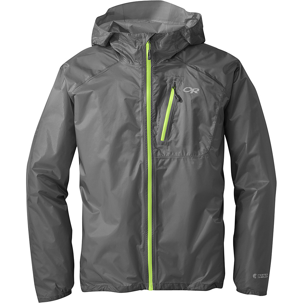 Outdoor Research Mens Helium II Jacket L - Pewter - Outdoor Research Mens Apparel - Apparel & Footwear, Men's Apparel