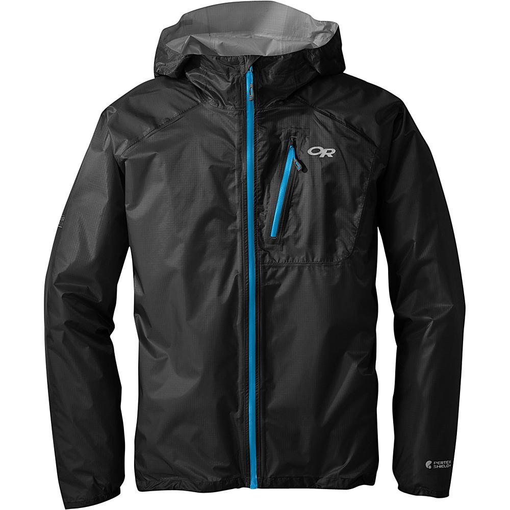 Outdoor Research Mens Helium II Jacket S - Black/Hydro - Outdoor Research Mens Apparel - Apparel & Footwear, Men's Apparel