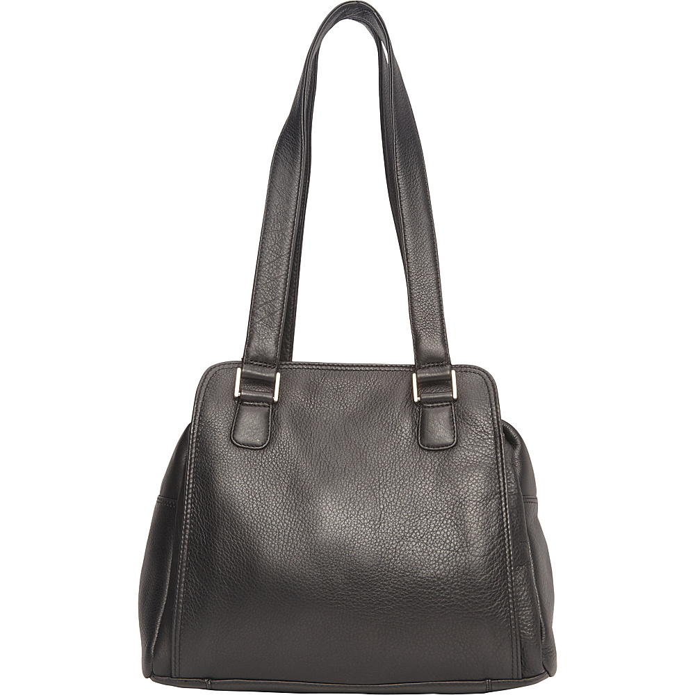 Derek Alexander Top Zip Compartments Shoulder Bag Black - Derek Alexander Leather Handbags - Handbags, Leather Handbags