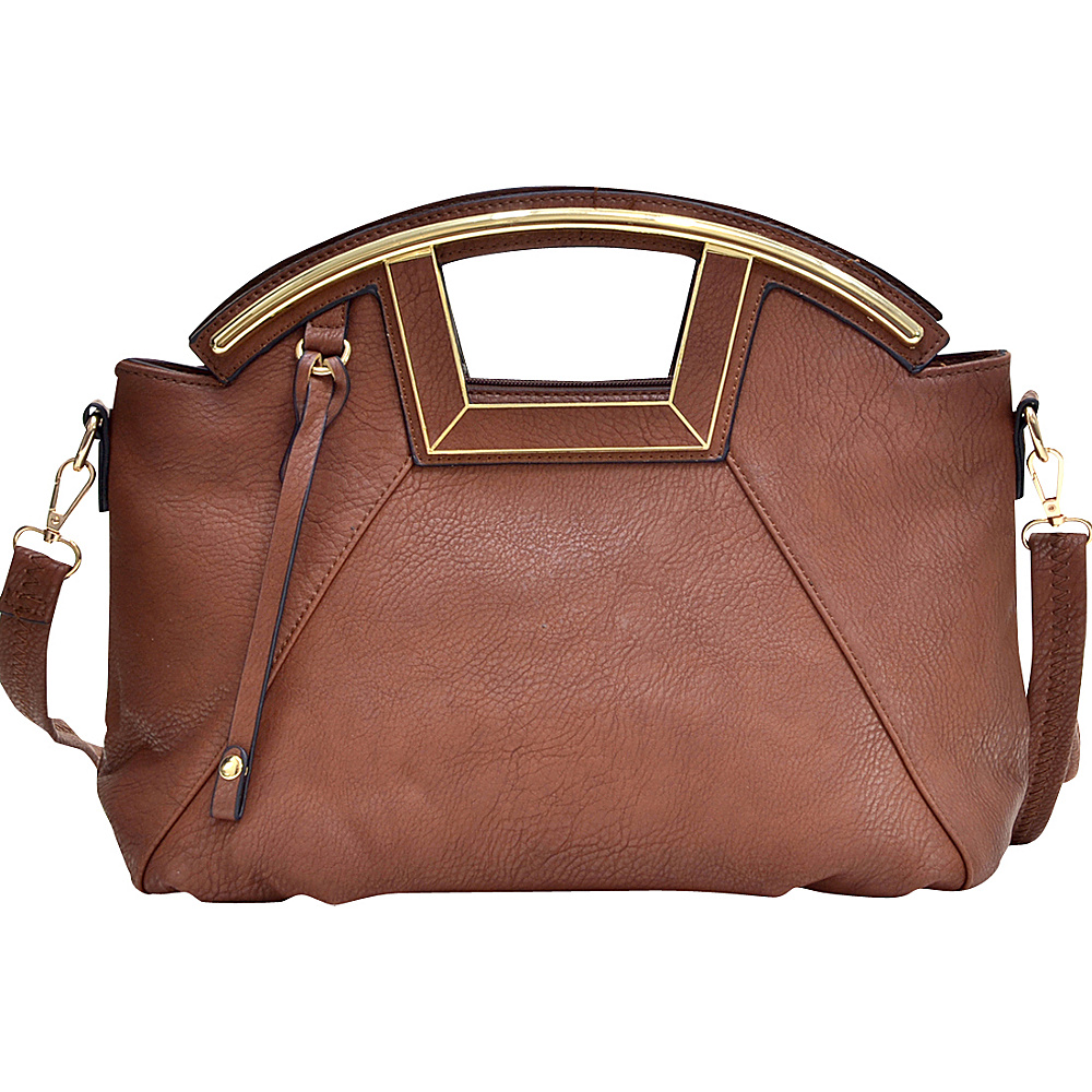 Dasein Soft Faux Leather Frame Handle Purse with Removable Shoulder Strap Brown - Dasein Manmade Handbags - Handbags, Manmade Handbags