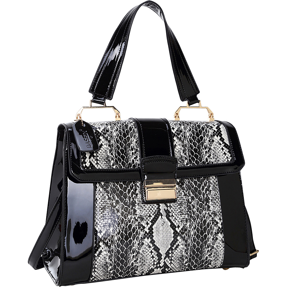 Dasein Patent Faux Leather Fold-Over Lock Tote Black - Dasein Manmade Handbags - Handbags, Manmade Handbags