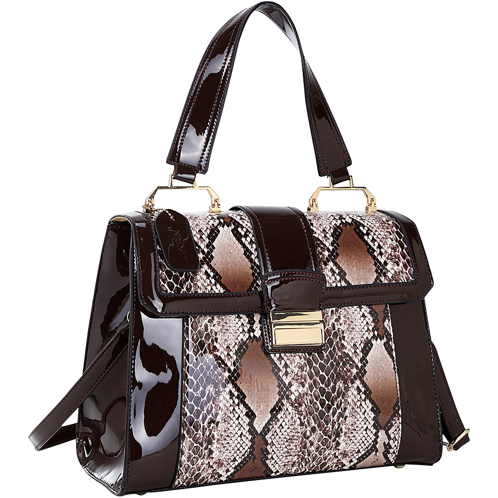 Dasein Patent Faux Leather Fold-Over Lock Tote Brown - Dasein Manmade Handbags - Handbags, Manmade Handbags