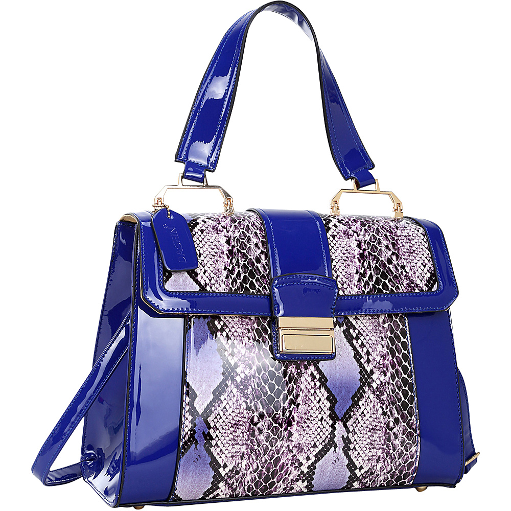 Dasein Patent Faux Leather Fold-Over Lock Tote Royal Blue - Dasein Manmade Handbags - Handbags, Manmade Handbags
