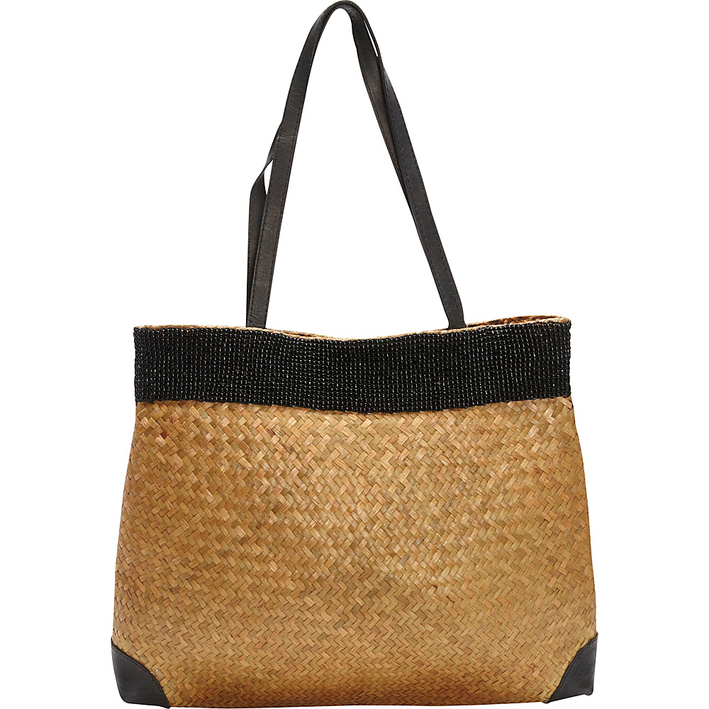 TLC you Beaded Tote Brown Black TLC you Fabric Handbags