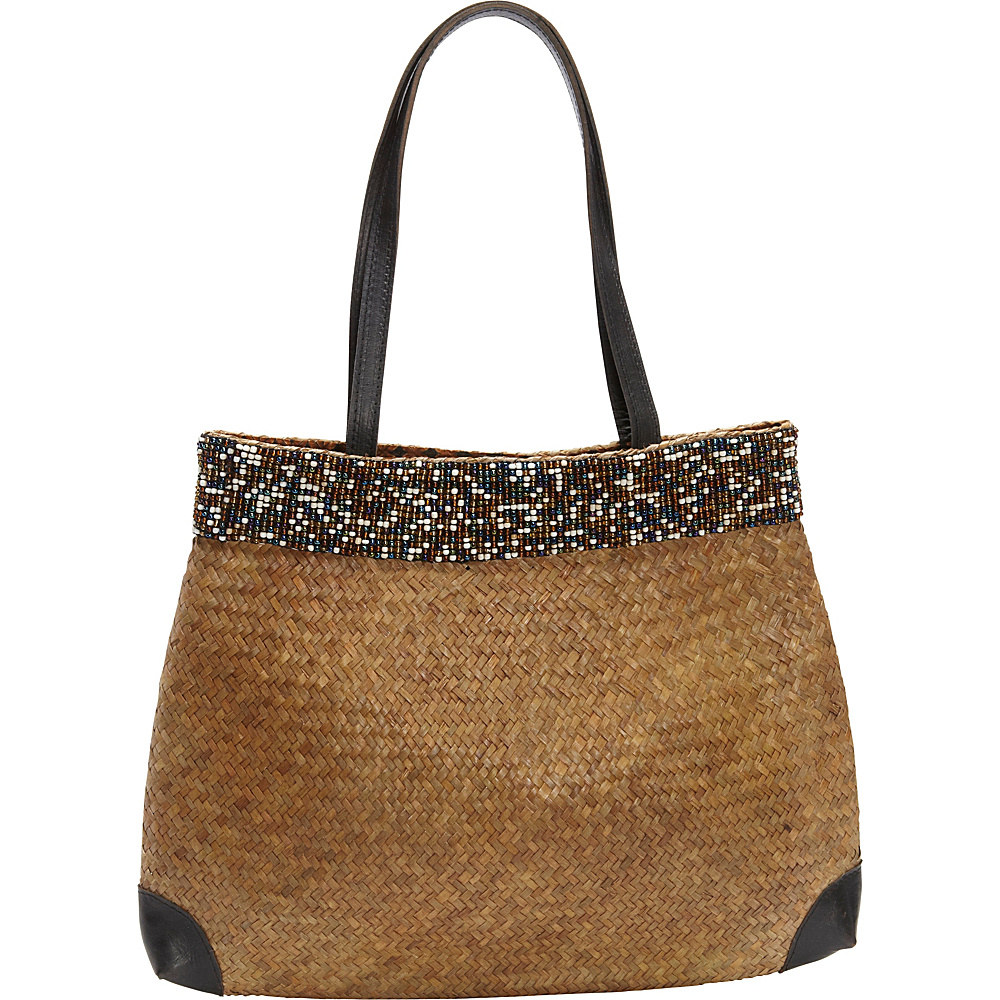 TLC you Beaded Tote Brown Natural Multi TLC you Fabric Handbags