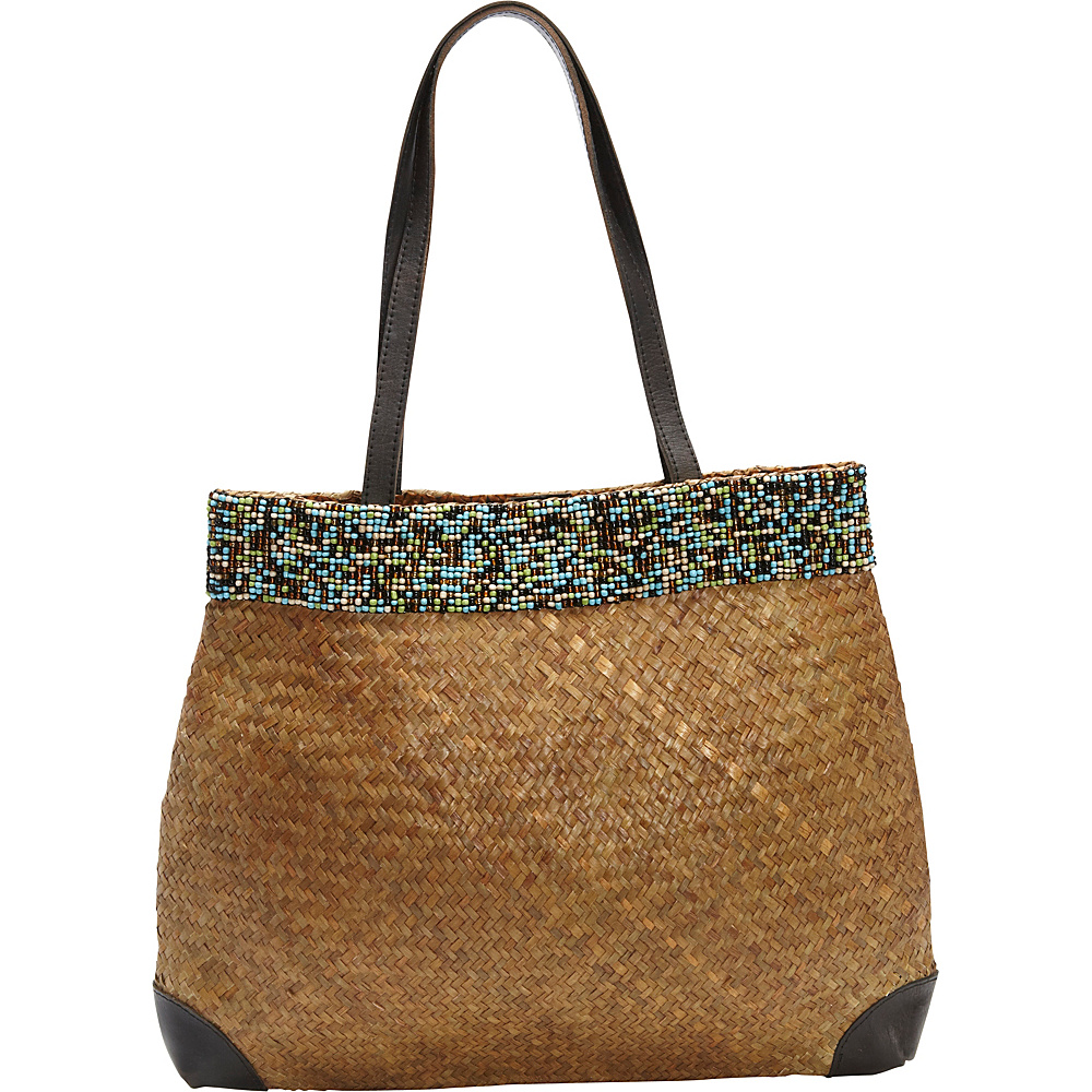 TLC you Beaded Tote Brown Multi Turquoise TLC you Fabric Handbags