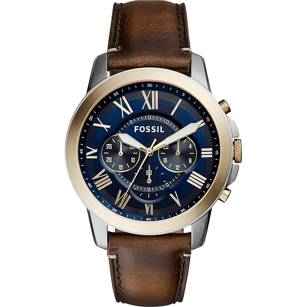 Fossil Grant Chronograph Leather Watch Dark Brown/Blue - Fossil Watches - Fashion Accessories, Watches