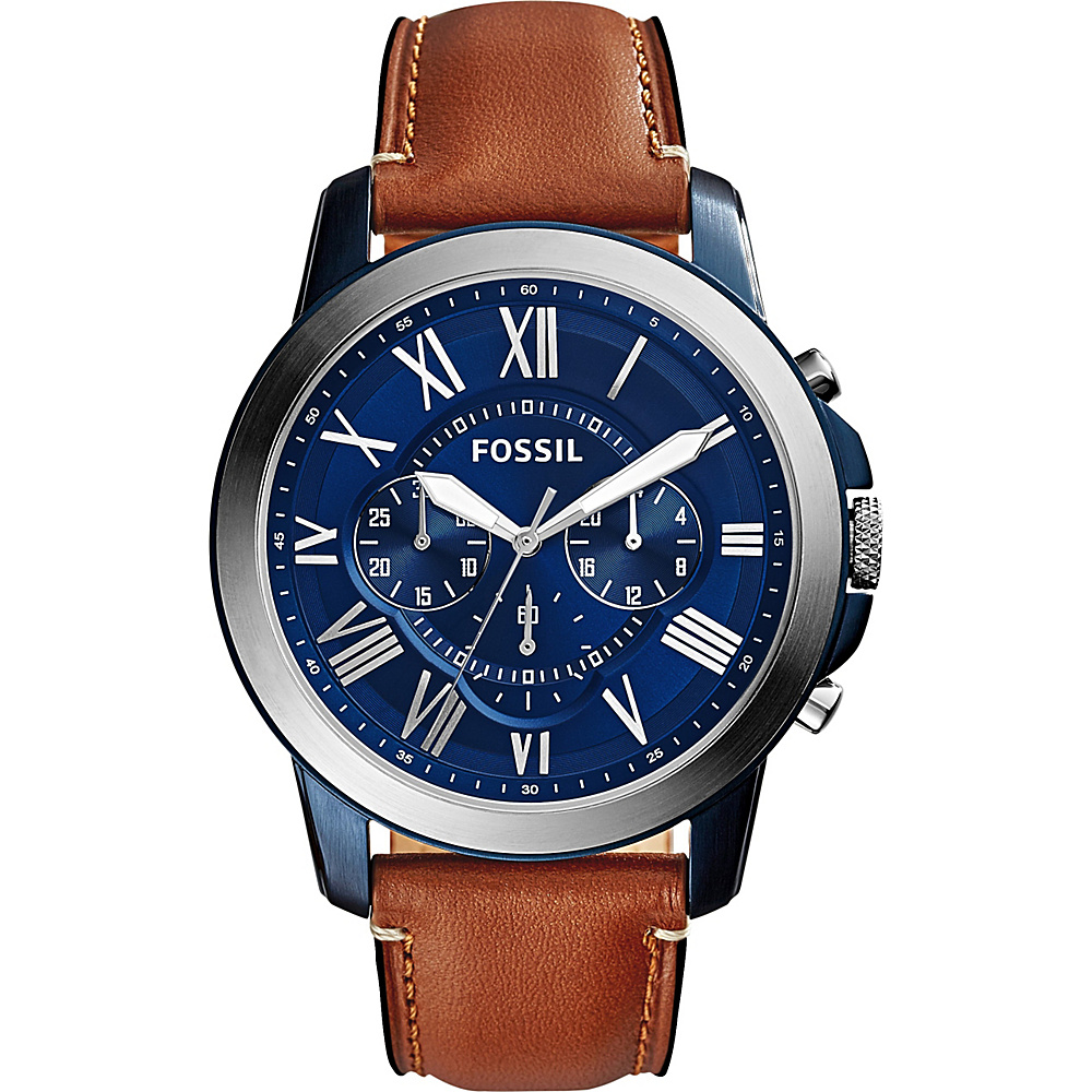 Fossil Grant Chronograph Leather Watch Light Brown/Blue - Fossil Watches - Fashion Accessories, Watches