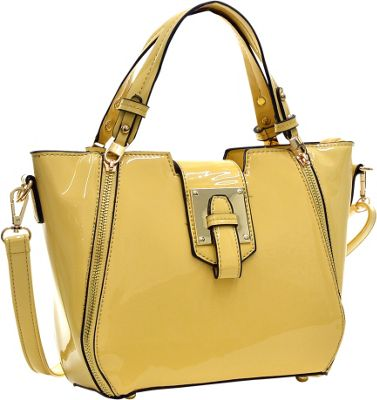 Dasein Patent Faux Leather Shoulder Bag with Zipper Front Detail Yellow - Dasein Manmade Handbags