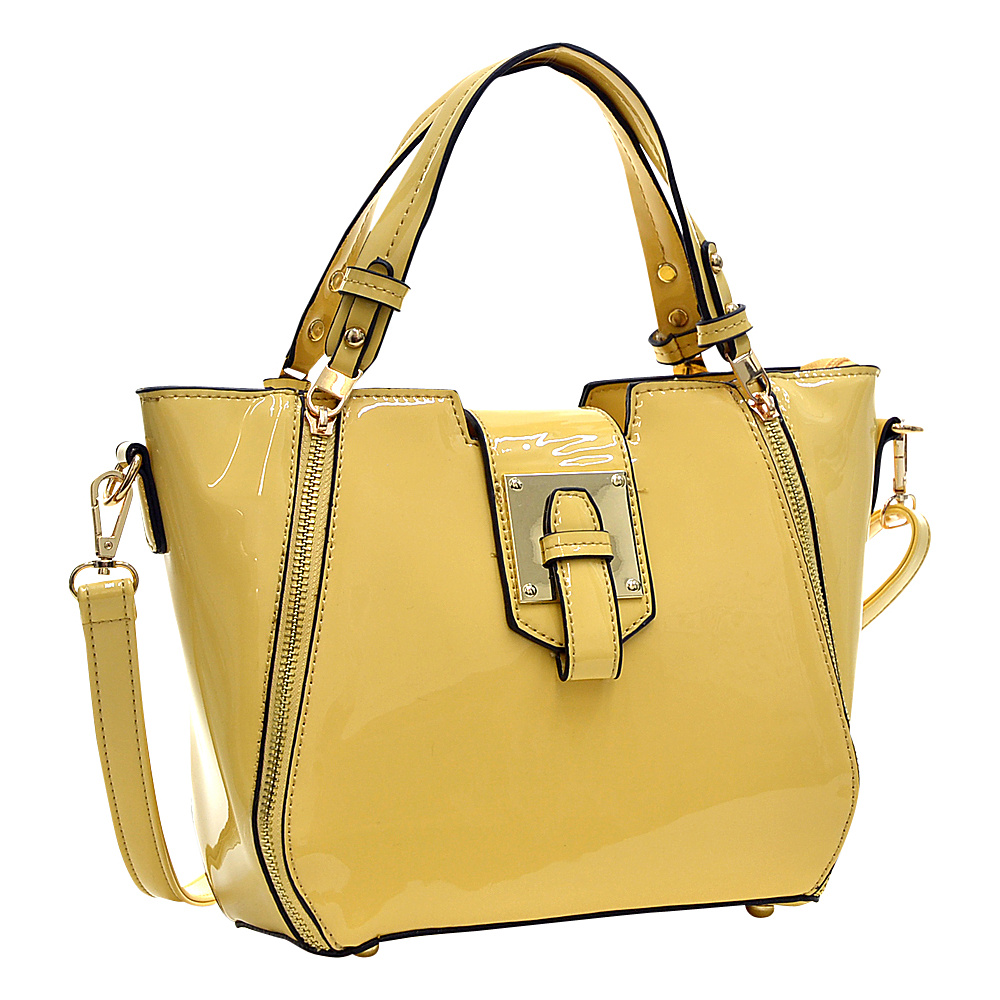Dasein Patent Faux Leather Shoulder Bag with Zipper Front Detail Yellow - Dasein Manmade Handbags - Handbags, Manmade Handbags