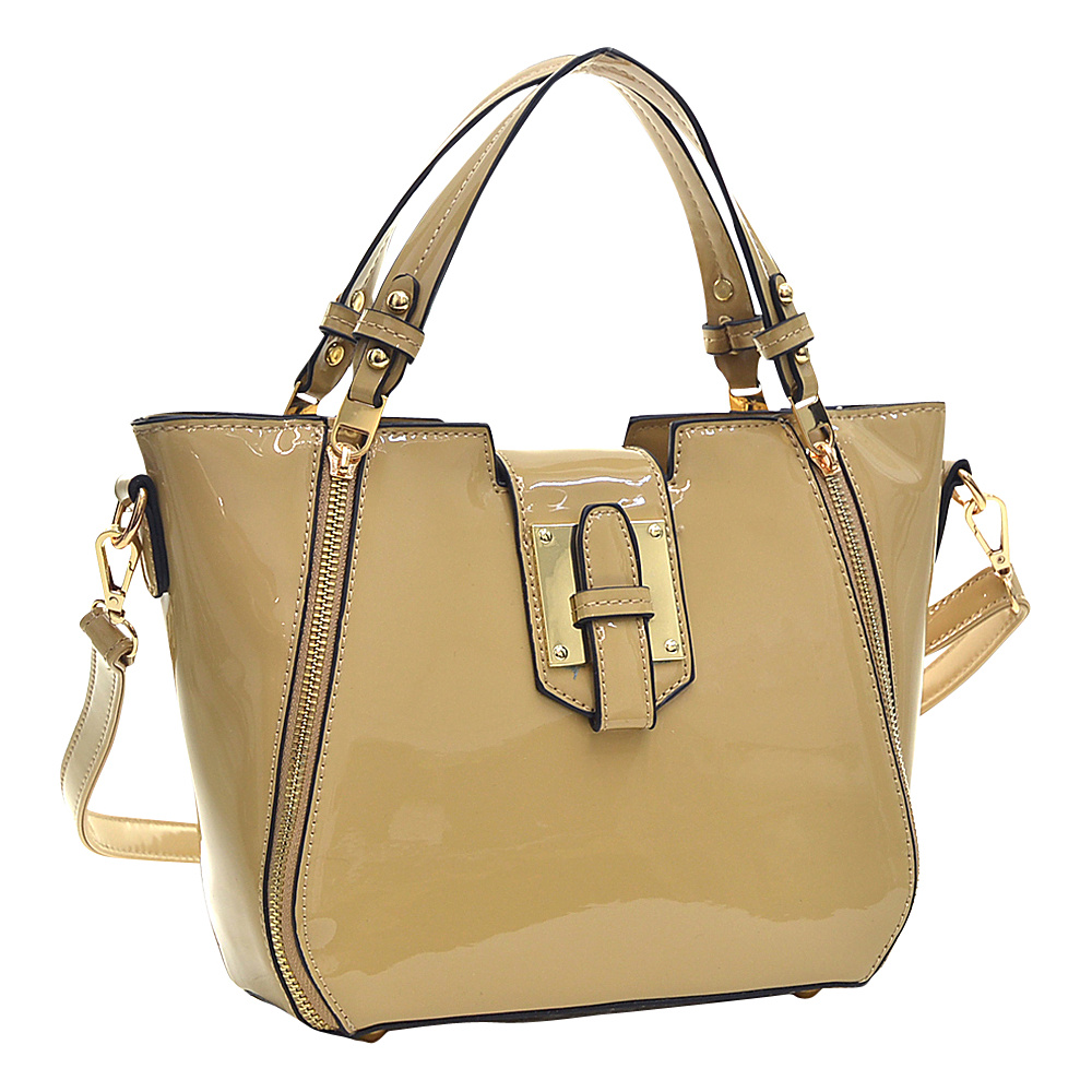 Dasein Patent Faux Leather Shoulder Bag with Zipper Front Detail Beige - Dasein Manmade Handbags - Handbags, Manmade Handbags